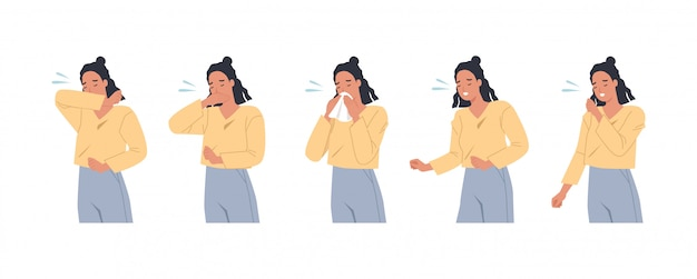 女性のキャラクターがくしゃみをして右と間違って咳をしています。腕、肘、組織で咳をする女性。ウイルスと感染に対する予防。フラットスタイルのベクトル図