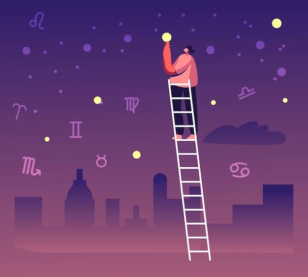 Женский персонаж стоит на лестнице. взять звезду с неба среди зодиакальных созвездий. мультфильм плоский иллюстрация