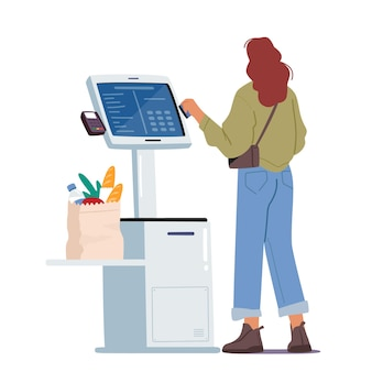 Female character in supermarket stand at checkout self service with pos terminal