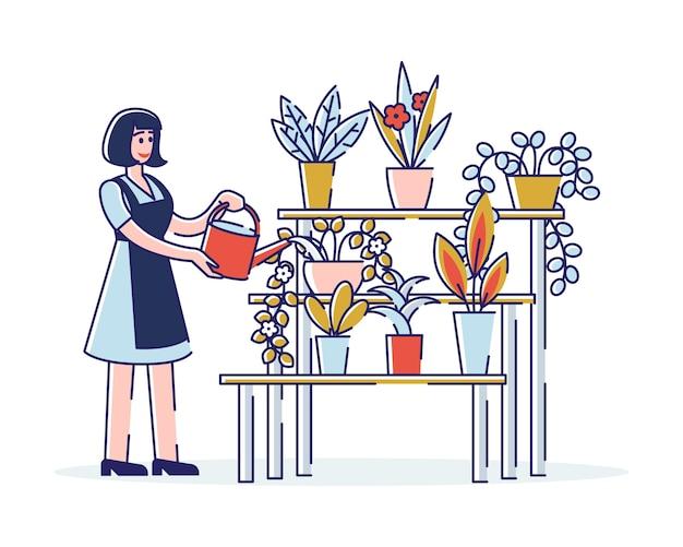 Женский персонаж заботится о красивых цветах у флориста