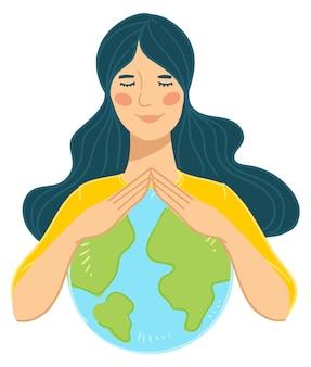 Женский персонаж, заботящийся об окружающей среде, природе и экологии планеты земля. девочка-подросток держит глобус в руках, обнимает и обнимает модель с мирным лицом. вектор в плоском стиле