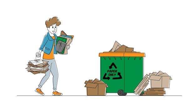 Женский персонаж выбрасывает бумажный мусор в мусорный бак со знаком утилизации