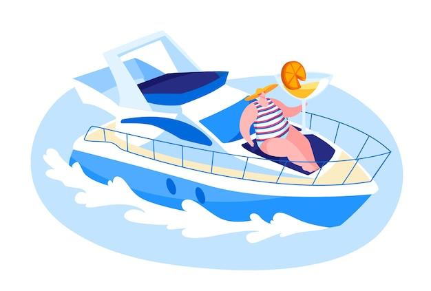 夏に海で豪華ヨットで旅行する女性キャラクター