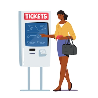 Female character use self ordering tickets service in metro