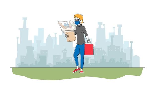 Женский персонаж в защитной маске идет из магазина с продуктовыми продуктами в бумажном пакете