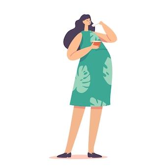 큰 배가 있는 여성 캐릭터는 맛있는 식사와 미소를 즐깁니다. 그릇에서 수프를 먹는 임산부, 출산 건강한 생활 방식, 모성 준비 개념. 만화 사람들 벡터 일러스트 레이 션