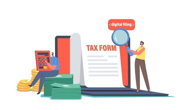Female character with magnifier look on tax form, man make payment calculation with huge calculator and money. taxation service, government state taxes, financial calendar. cartoon vector illustration