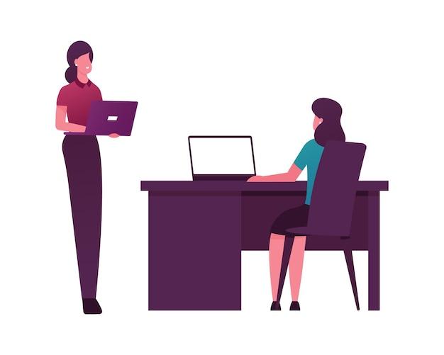 노트북 책상에 앉아 양자 기술로 컴퓨터에서 작업하는 여성 캐릭터.