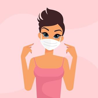 ピンクの背景に保護医療マスクを持つ女性キャラクター