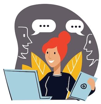 비즈니스 커뮤니케이션을 처리하고 고객 및 주문과 협력하는 컴퓨터로 일하는 여성 캐릭터. 노트북과 보고서를 손에 들고 비서 또는 사무원. 평면 스타일의 벡터