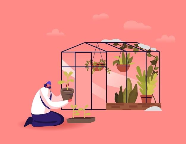 온실에서 일하는 여성 캐릭터. 겨울 정원에서 화분에서 토양까지 식물을 심는 젊은 여자