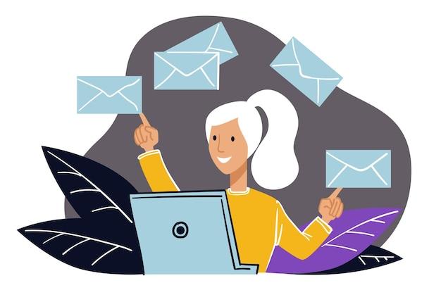 사무실에서 일하는 여성 캐릭터는 컴퓨터 옆에 앉아 서신과 이메일을 처리합니다. 비즈니스 커뮤니케이션 및 직장에서의 문제 해결. 비서 또는 서기. 평면 스타일의 벡터