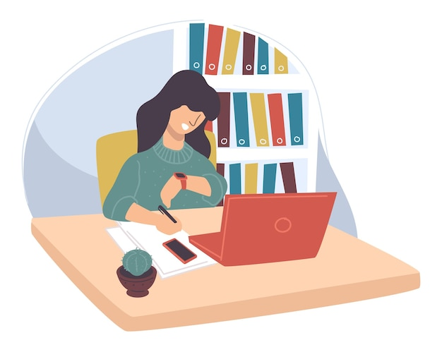 사무실에서 일하는 여성 캐릭터는 하루가 끝날 때까지 기다리고 있습니다. 프로젝트 마감일을 생각하는 프리랜서. 일정 및 문제를 다루는 노트북 및 문서를 가진 인물. 평면 스타일의 벡터