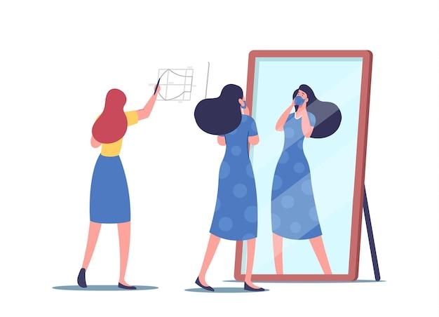 여성 캐릭터는 코로나바이러스 동안 집에서 의료용 마스크를 자르고 바느질합니다. 여자는 거울 앞에서 마스크를 시도합니다. covid19 바이러스에 대한 수제 diy 얼굴 마스크. 만화 사람들 벡터 일러스트 레이 션