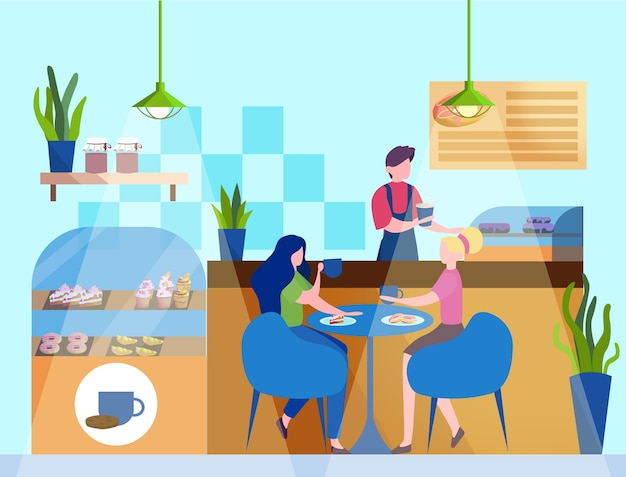 Женские персонажи едят в кафе. две девочки-подростки, обедающие в пекарне, интерьер кафетерия. иллюстрация.