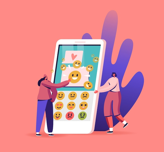 Female characters sending text messages by mobile phone. tiny women at huge smartphone with application for sending sms and emoji smiles