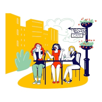 Female characters sitting in outdoor cafe drinking coffee