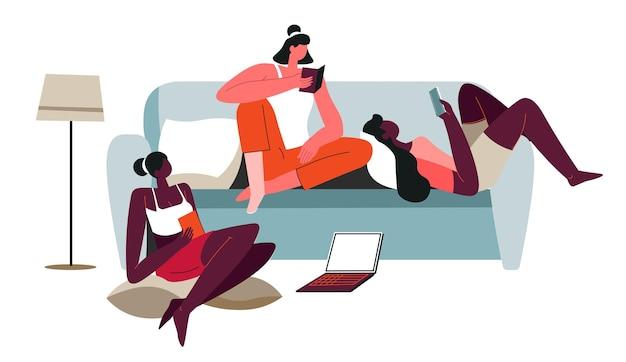 家で本を読んだり、ウェブを閲覧したりする女性キャラクター。週末の怠惰な女性、休憩してリラックスした友人や姉妹。寮で勉強している学生。フラットスタイルのベクトル