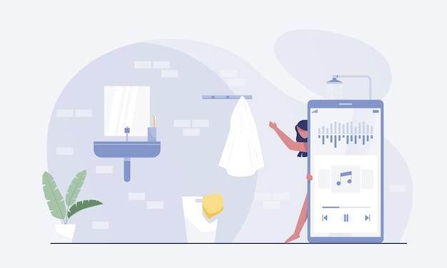 여성 캐릭터는 샤워를 하고 스마트폰을 사용하여 오디오 팟캐스트를 듣습니다. 벡터 일러스트 레이 션