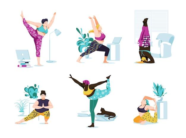 女性キャラクターヨガクラスとスポーツ活動セット。スポーツエクササイズ、さまざまなポーズでのフィットネストレーニング、漫画フラットを行うさまざまな人種のヨギ女性。