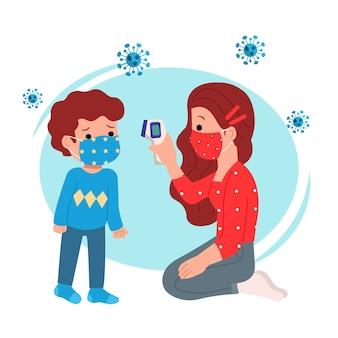여성은 열총을 사용하여 소년의 체온을 확인합니다. 안전 예방. 집에서 안전하게 지내십시오. 코로나 바이러스 인식. 배경
