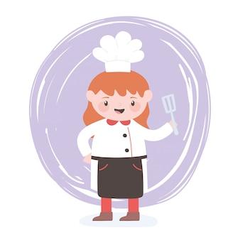 Женский шеф-повар мультипликационный персонаж с лопаткой на кухне