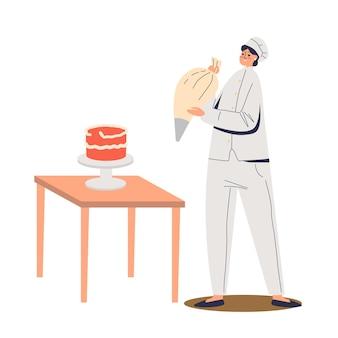 バッグのイラストからクリームで飾るケーキを準備する女性シェフコック