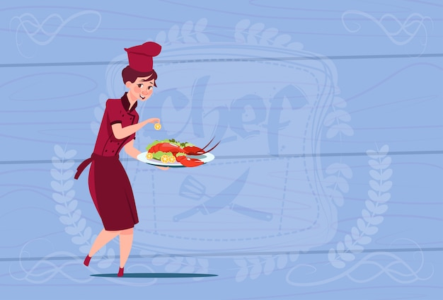 Female chef cook holding tray with lobster cartoon chief in restaurant uniform over wooden textured background
