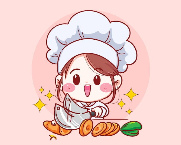 Female chef cut carrot vegetable cooking in kitchen cartoon