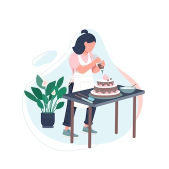Female chef flat color faceless character. woman cook diy recipe. pastry making at home. enjoy preparing food. baking isolated cartoon illustration for web graphic design and animation