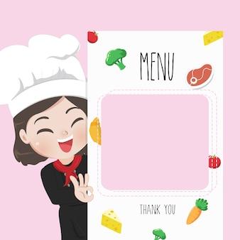 Female chef recommends food menu,