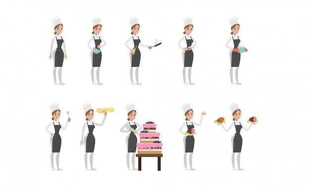 Female chef set. woman in hat and apron cooking cake, soup and meat.