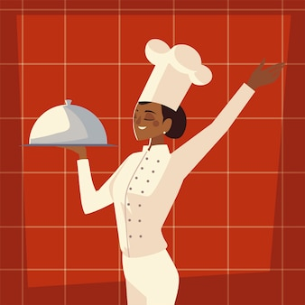 Female chef with platter service worker professional restaurant vector illustration