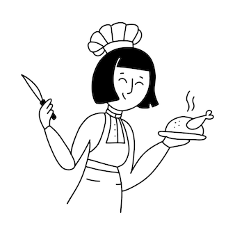 제복을 입은 여성 수석 요리사와 구운 치킨을 들고 있는 모자