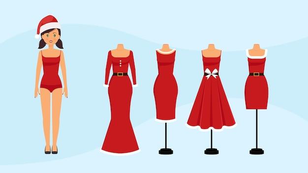 女性のクリスマスドレス-サンタクロースの赤い衣装