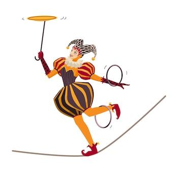 カラフルなスーツと道化師の帽子の女性サーカスアーティストのキャラクターは、ロープと回転プレートとフープでバランスを取ります。綱渡り。白で隔離。漫画のベクトルイラスト。