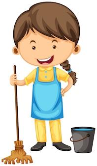 빗자루와 양동이 여성 청소기