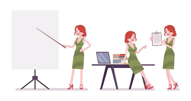 Female clerk working illustration