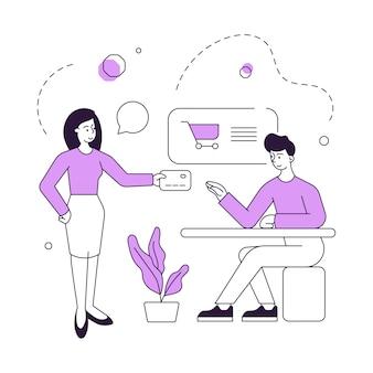 Женщина-клиент дает кредитную карту менеджеру магазина