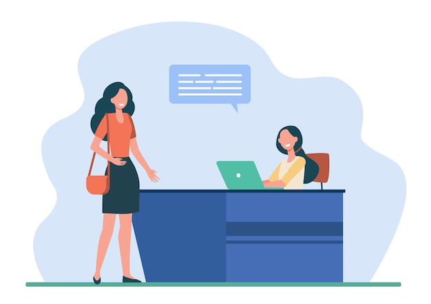 Female client or visitor talking with receptionist. desk, speech bubble, laptop flat vector illustration. service and communication