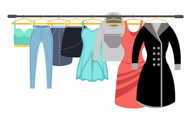 Female clothing wardrobe. ladies colorful casual clothes hanging on rack vector illustration