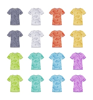 Female colored short sleeve t-shirts with the geometric camouflage templates collection