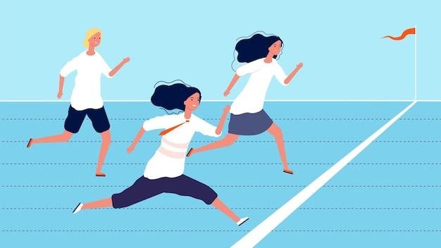 女性の競争。ビジネスウーマンは成功を目指して努力しています。
