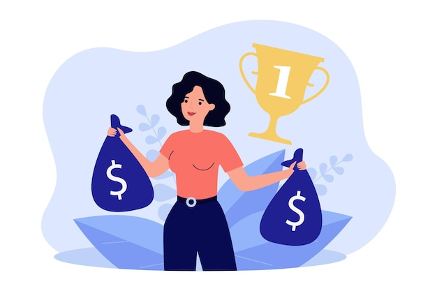 Female competition winner holding bags of money. woman getting first place, gold cup with number one flat vector illustration. wealth, success, achievement concept for website design or landing page