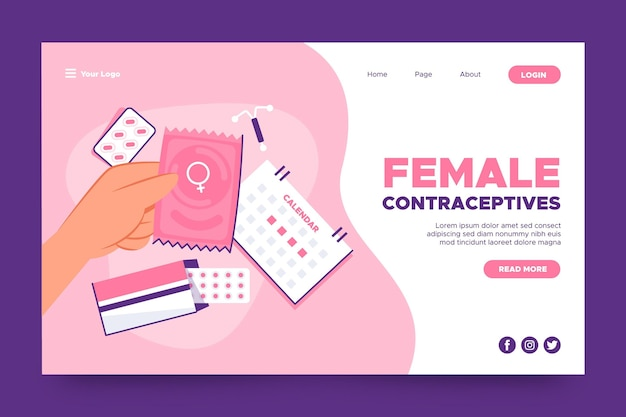 Female contraceptives landing page template