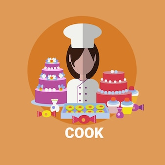 Female cook confectioner cooking meal profile avatar icon