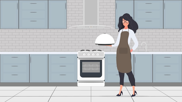 Female cook holds a metal tray with a round lid in his hand. girl in the kitchen apron. waitress. vector.