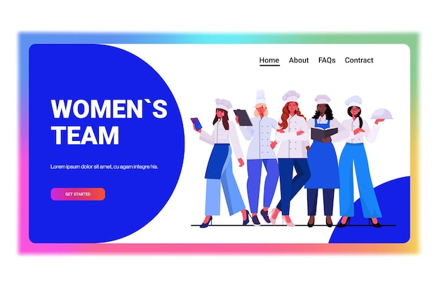 Female cooks in uniform standing together beautiful women chefs cooking food industry concept professional restaurant kitchen workers full length horizontal vector illustration