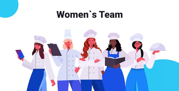 Female cooks in uniform standing together beautiful women chefs cooking food industry concept professional restaurant kitchen workers portrait horizontal vector illustration