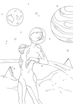 여성 우주비행사 또는 우주 비행사는 우주복을 입고 황량한 행성 표면에 서서 위를 올려다보고 있습니다. 흰색 바탕에 검은 윤곽선으로 그려진 헬멧에 소녀. 벡터 일러스트 레이 션.
